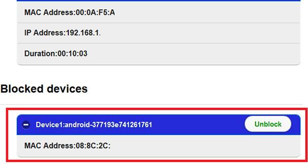 Periksa Pada Modem Apakah IP dan Mac Address Terblokir