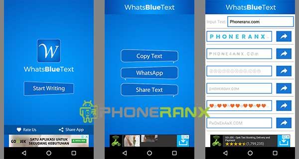 Membuat Tulisan Berwarna dengan Whats Blue Text