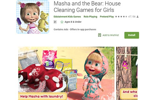 Masha and the Bear House Cleaning Games for Girls
