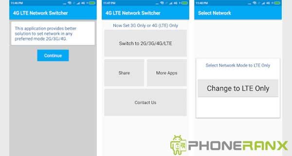 Menggunakan Aplikasi 4G LTE Switch