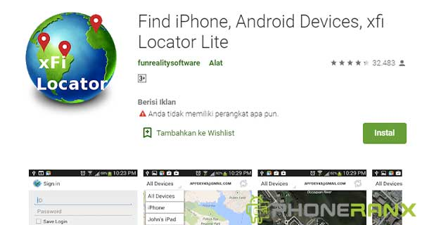 Find iPhone Android Devices xfi Locator Lite