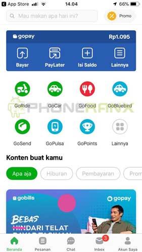 Lalu buka aplikasi Gojek dan pilih menu Lainnya