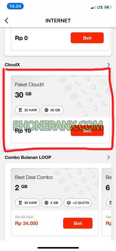 Pilih Paket CloudX