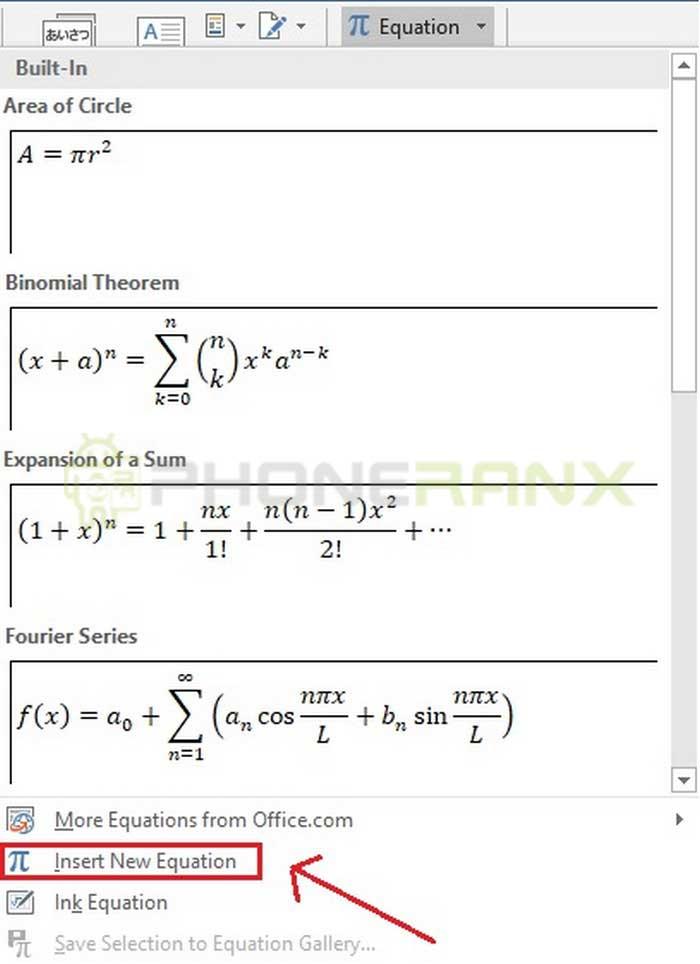 Insert New Equation