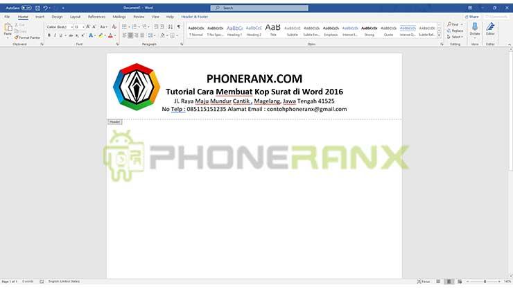 Membuat Kop Surat Bagian Memasukan Logo
