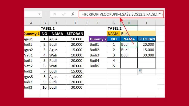 Hasil Mencari Data yang Sama di Excel dengan Vlookup