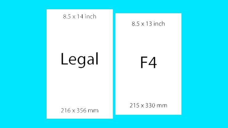 Perbedaan Ukuran Kertas Legal dan F4