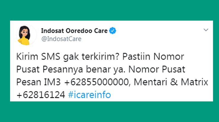Nomor Pusat Pesan Indosat IM3 Mentari dan Matrix