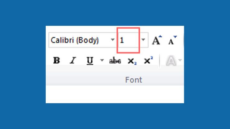 Ubah Ukuran Font Jadi 1