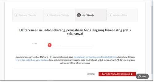 Daftar EFIN Badan Sekarang