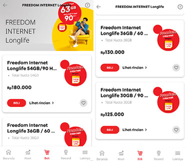Beli Freedom Internet Longlife via Aplikasi MyIM3