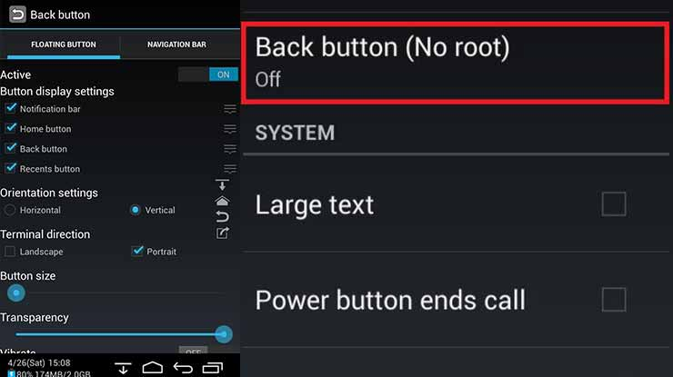 Back Button No root