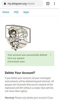 Delete Akun Telegram permanen
