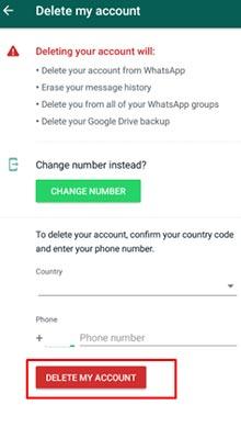 Menghapus Akun WhatsApp Permanen