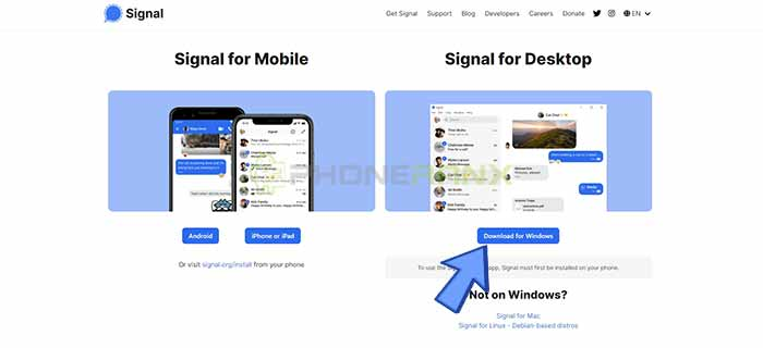 download Signal messenger web