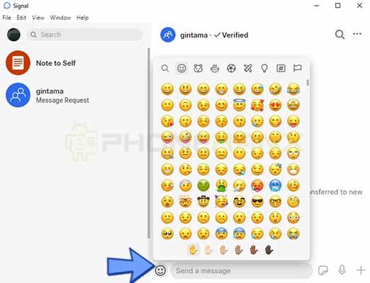 emoji Signal messenger web